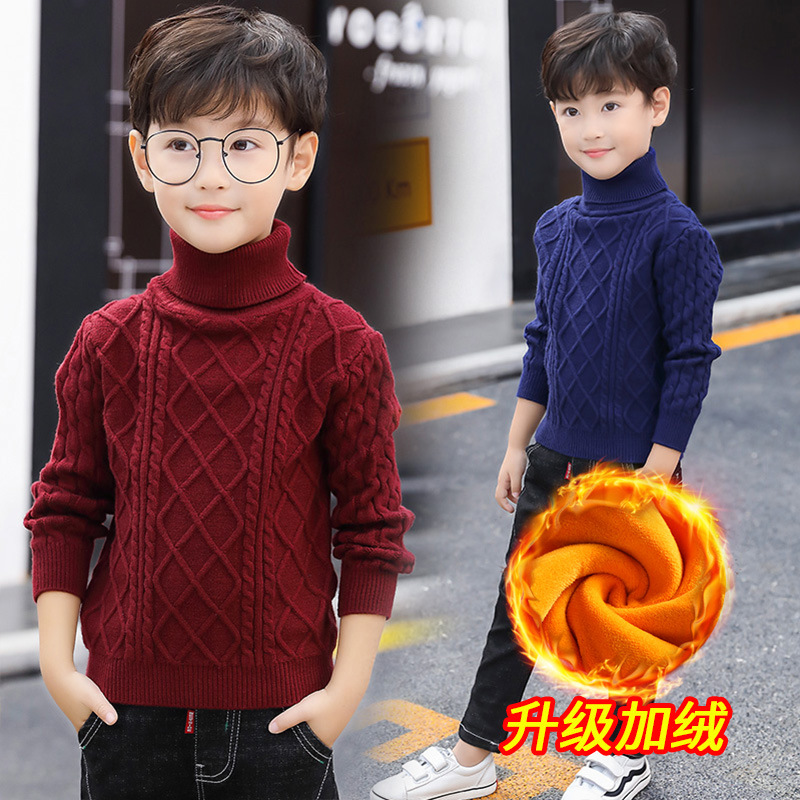 Boy Turtleneck Sweater Plus Velvet Kids Winter Tops 2018 Autumn Winter Long Sleeve Boys Christmas Sweater 8 9 10 11 Pull Garcon turtleneck long high low sweater