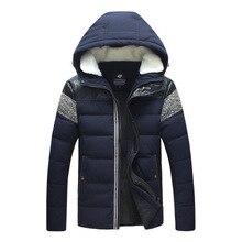 Зимнее пальто новый мужской моды личности цвет с капюшоном теплая хлопка-ватник
