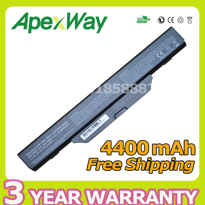 ApexWay2 Store Apexway 6 cells 4400mAh laptop battery For HP COMPAQ 550 510 610 6720s 6730s 6735s 6820s 6830s HSTNN-IB62 HSTNN-OB62 HSTNN-IB51