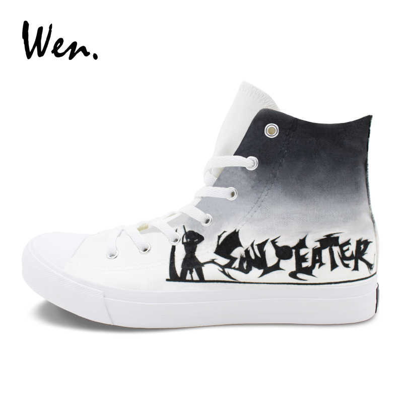 Wen Graffiti Shoes Classic Blank White Color Anime Soul Eater Hand Painted Canvas Shoes Men Women High Top Sneaker