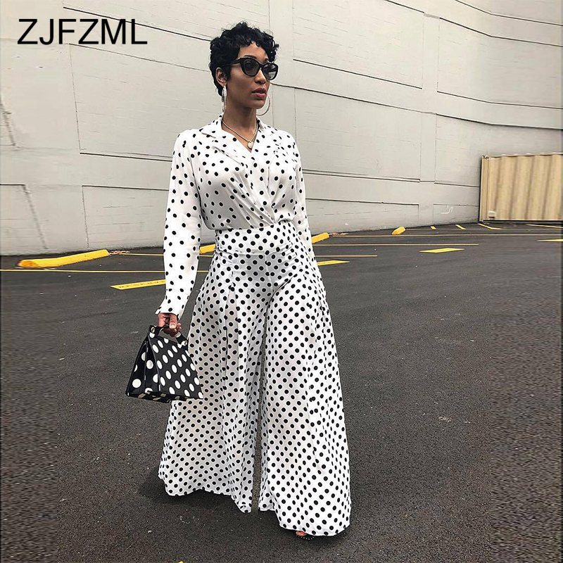 ZJFZML Black White Polka Dot Print Two Piece Set Women V Neck Long Sleeve Top And Loose Wide Leg Pant Autumn Outfit 2 Piece Suit