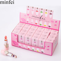 brand minfei Waterproof Chrysanthemum Lipstick with Flower Moisturizer Lip stick makeup maquiagenm lips care beauty 24pcs/lot