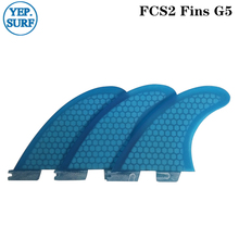 FCS2 G5  Surf Blue/Orange Fins Surfboard Honeycomb Tri fin set fcs Fibreglass