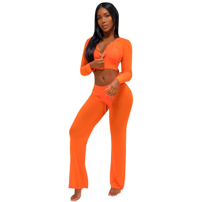 LaiCloAng Mesh Transparent Two Piece Set Sexy Jumpsuit Women Long Sleeve Hooded Zipper Nightclub Party Rompers Womens Jumpsuit