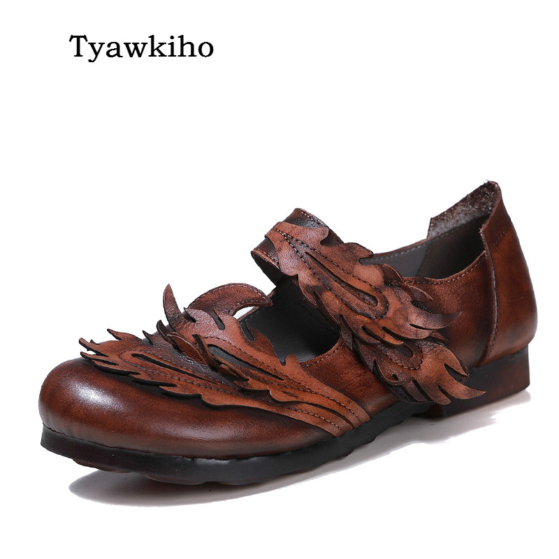 Tyawkiho Genuine Leather Women Flats Ankle Strap Shoes Retro Style Mary Jane Flats Handmade Women Leather Flats Spring 2018 amourplato womens handmade pointed toe ankle wrap flats bridesmaid ballerinas ankle strap flats shoes with buckle size5 13