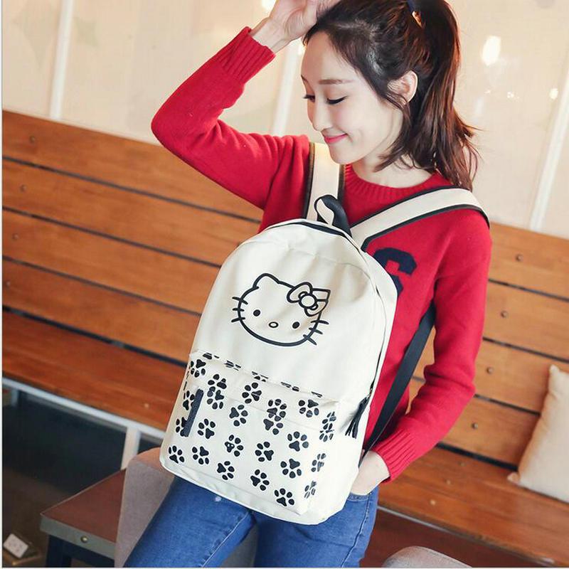 Мода холст рисунок «Hello Kitty» женский рюкзак для девочек Колледж ветер средней школы школьные сумка рюкзак симпатичная сумка