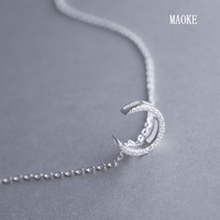 Promotional 925 Sterling Silver Inlaid Zircon Moon Styling Necklace for Women's Fashion Gifts
