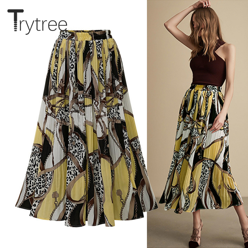 Trytree Summer Autumn Casual Skirt Women Polyester Print High Elastic Waist A-Line Skirt Mid-Calf Fashion Office Lady Skirts