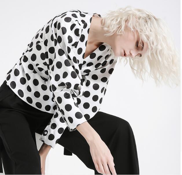 2019 nouveau printemps col en V à manches longues lanterne blanc point imprimé lâche Bandage chemise femmes Blouse mode marée - 3