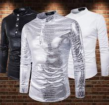 fashion punk slim shirt men long sleeve Silver shiny bronzing snakeskin Stand collar mens personality stage singer
