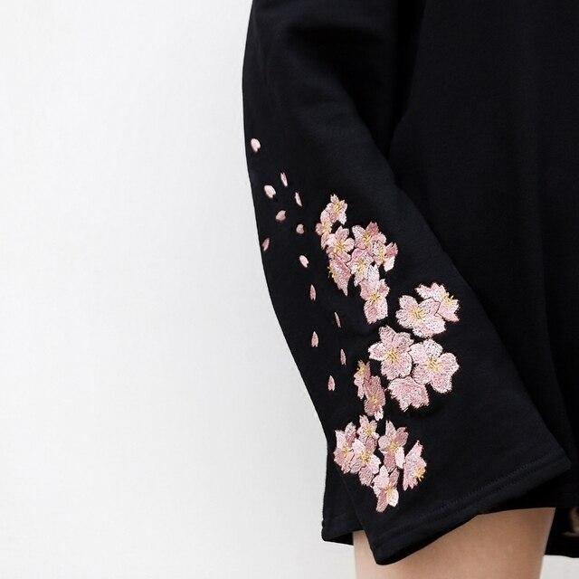 Sakura Embroidery Pullovers for Women O Neck Width Long Sleeve Sweatshirt Fashion Street Style Loose Clothings 3