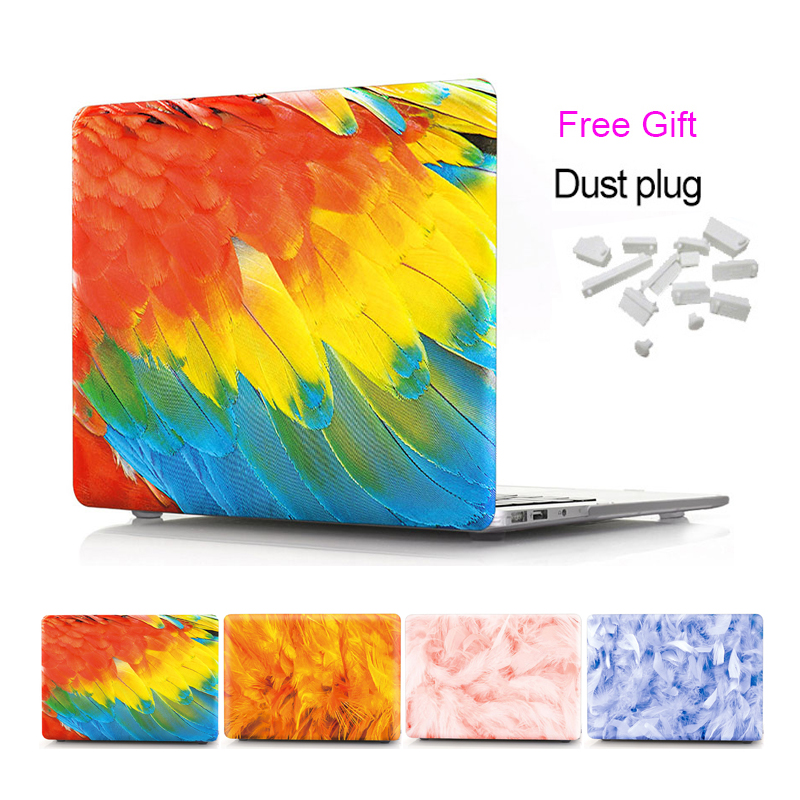 Laptop Matte Hard Case for Apple MacBook Air 11 13 Pro 13 15 Inch Watercolor Feather Pattern Protective Cover Cases Model A1708 hat prince usa flag pattern protective full body matte case for macbook air 13 3 blue red