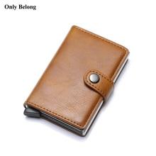 Only Belong Rfid Card 2018 Small Leather Smart Wallets Mini Wallets Holder Men Wallets Money Bag Male Vintage black Short Purse slide wallet