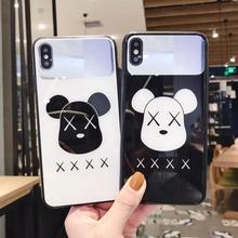 IMIDO The Fashion Bear Anti-fall Mirror silicone PC Case For iphone 6/7/8/X/Xs/ Xsmax/Xr Cute Cartoon 7