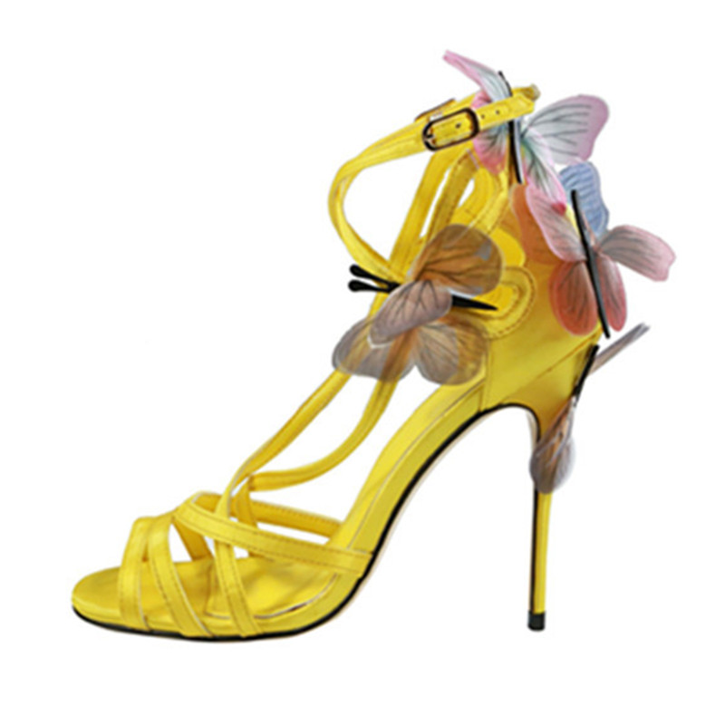 2018 New fashion designer shoes exquisite butterfly embellished thin high heels sandals sexy peep toe cross-tied pumps