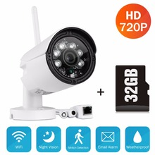 SANNCE HD 720P Smart wireless IP camera 1.0MP wifi outdoor Surveillance Camera waterproof CCTV security camera with 32GB SD Card