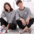 Casual Pajamas Sets for Couple Cotton Pijams Long Sleeves stripe Pajamas Men Sleepwear Sweet lover Family Clothes