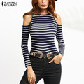 ZANZEA Women Blouses 2017 Autumn Sexy Off Shoulder Striped Shirts O Neck Long Sleeve Casual Slim Blusas Tops Plus Size S-5XL