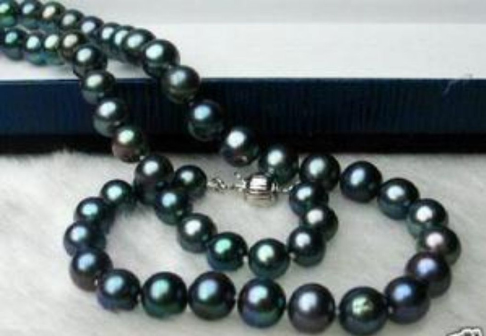 Hot sale new Style >18 9-10MM TAHITIAN NATURAL BLACK PEARL NECKLACE [ys] 9 10mm black loose natural tahitian pearls