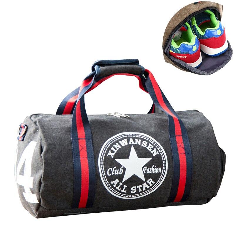 Unisex bolsas de gimnasio bolsa de deporte hombres Fitness fútbol deportes bolsa de Yoga de mujer de lona, bolso de hombro, viajes al aire libre mochila bolsas de deporte