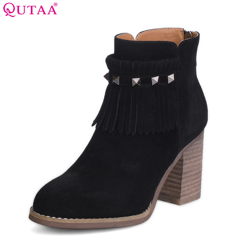 QUTAA 2018 Women Ankle Boots Square High Heel Zipper  Winter Autumn Shoes Rivet Black Ladies Motorcycle Boots Size 34-43 vinlle 2018 women ankle boots shoes buckle autumn winter square high heel pointed toe zipper ladies motorcycle shoes size 34 42
