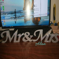 Crystal diamond wedding sign & symbol and wedding Mr. and Mrs. Stable wooden word Mr. Mrs. logo Wedding sign
