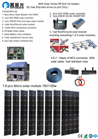 110V or 220V 800W Solar Home off grid tie systems by sea 8pcs 100W mono solar modules bracket controller DIY kits panel