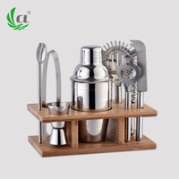 8pcs Barware Sets Stainless Steel Wine Set Gift Cocktail Bar Wooden Frame Barware Suits Shaker Jingger Ice Tongs Corkscrew