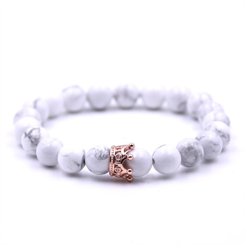 e4260972a11 Couple Bracelet Charms Stone Beads Men Jewelry Crown Bracelets For Women  Bangles Pulseira Masculina Bileklik Pulseira Feminina