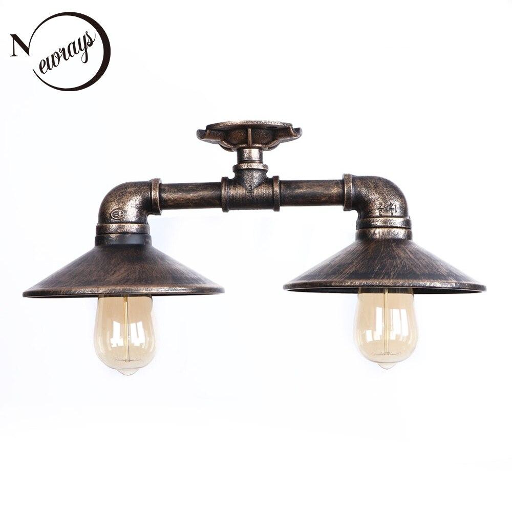 цена на Vintage metal painted art deco ceiling lamps E27 LED 220V water pipe ceiling lights for living room bedroom restaurant cafe bar