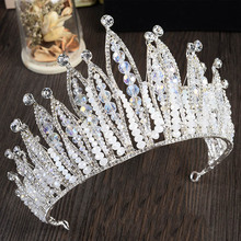 2017 New Arrivals Queen Diademe Luxurious Crystal Crown Large Bridal Rhinestone Tiaras Handmade Headpiece Tiara de noiva HG269
