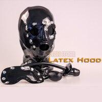 (FMJ012)Latex rubber hood with gag and mask kit bondage fetish banding accessory equipment latex fetish wear