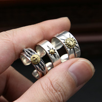 factory wholesale silver jewelry 925 silver copper inlaid Korean men's and women's Retro minimalist Takahashi opening ring