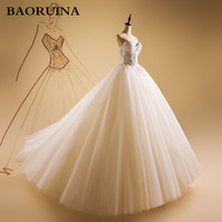 Luxurious Bling Strapless Wedding Dresses Corset Bodice Sheer Bridal Ball Crystal Pearl Beads Rhinestones Tulle Wedding