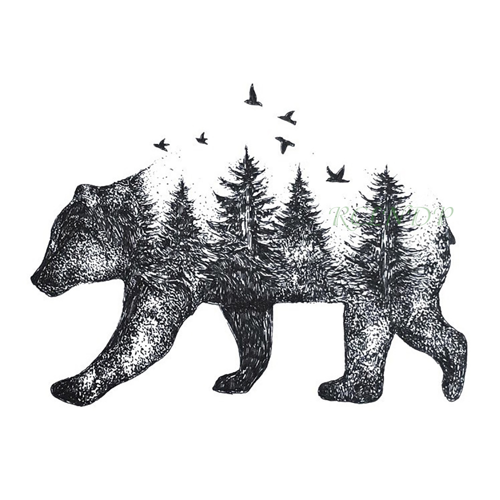 Waterproof Temporary Tattoo Siberia Forest Bear Tree Bird Fox Owl Wolf Whale Tatto Flash Tatoo Fake For Girl Women Men 7