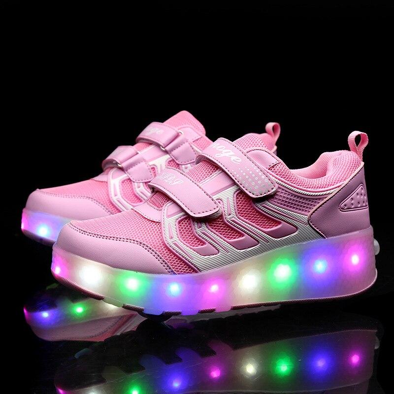 Glowing Kids Sneakers Children Shoes Breathale For Boys Girls Child zapatillas de ruedas wheels heelys rollers skate shoes