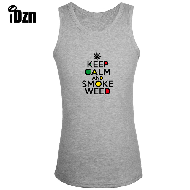 11e55c01a85ea iDzn Fitness Bodybuilding Clothing New Singlets Men Tank Tops Funny KEEP  CALM AND SMOKE WEED Sleeveless Vest Print undershirt