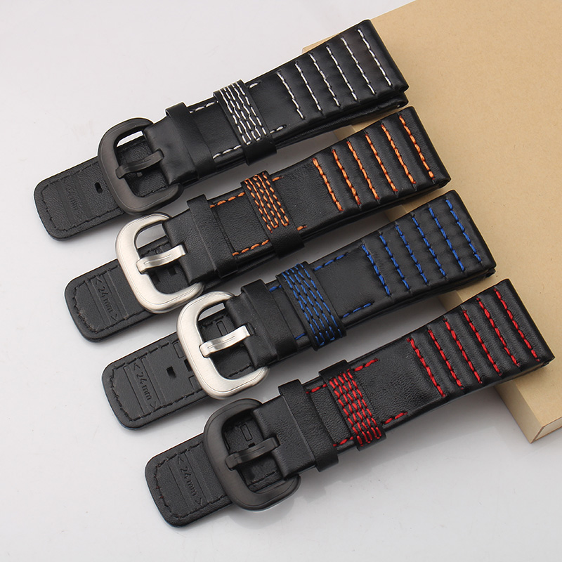 Watches Watchbands Collection Here Merjust New 28mm Calfskin Genuine Leather Handmade Black With White Red Orange Blue Stiching Watchband For Seven Friday Strap