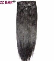 ZZHAIR 100g 140g 16 24 Machine Made Remy Hair 7Pcs Set Clips In 100 Human Hair