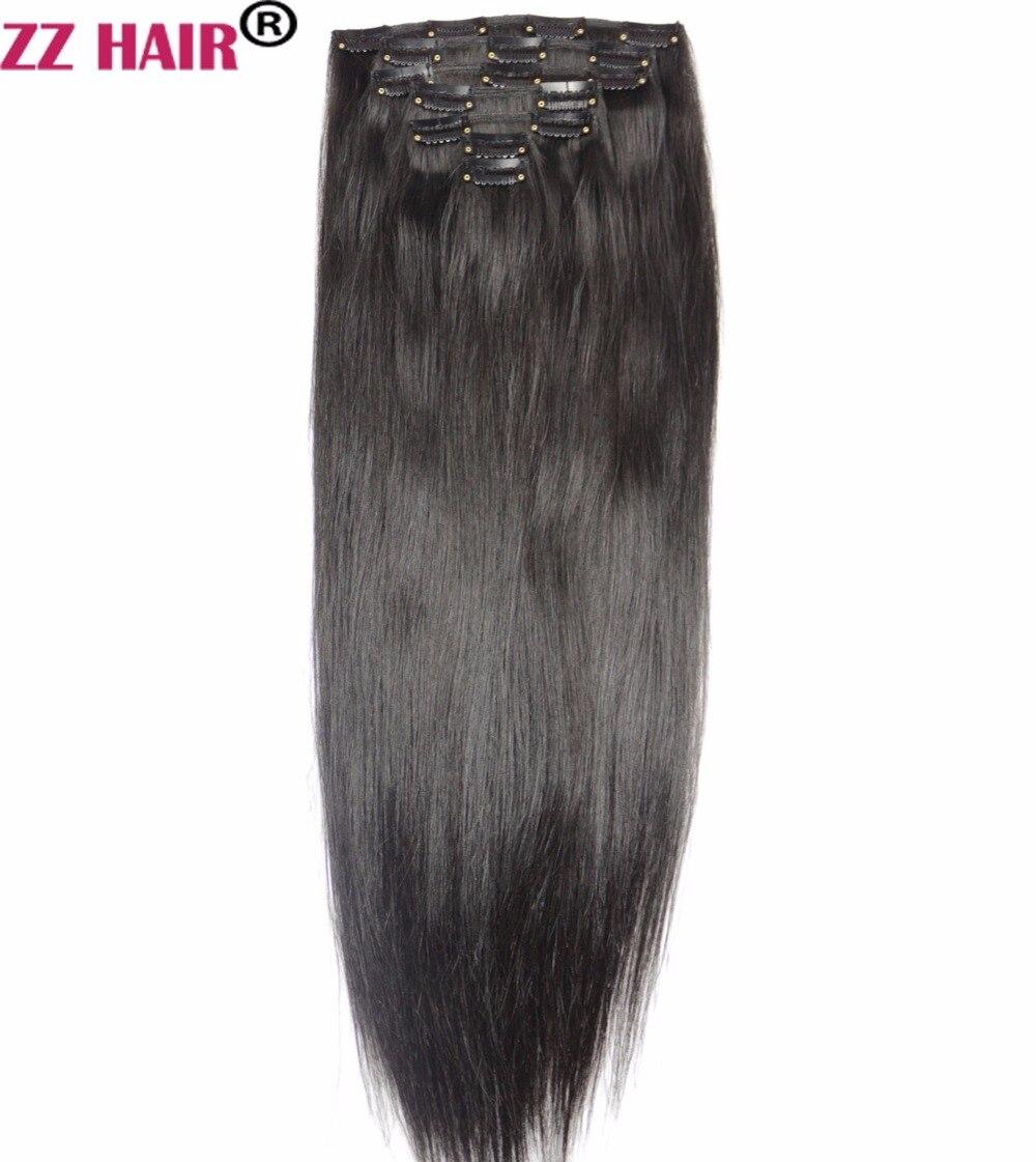 Zzhair 100 г-140 г 16 -24 машина сделала Волосы Remy 7 шт. комплект Зажимы в 100% пряди человеческих волос для наращивания Комплект на всю голову прямо На...
