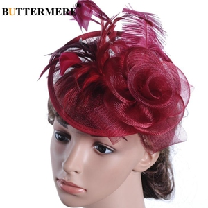 Image 1 - BUTTERMERE Fedora Hat Party Women Burgundy Hats Linen Wedding Lady Feather Flower Fascinator Pillbox Hat Bride Elegant Cap Black
