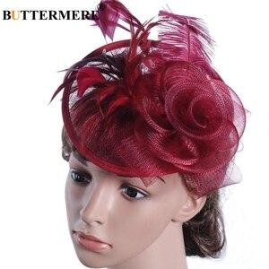 Image 1 - Chapeau de soirée Fedora papillon pour femmes, bordeaux, chapeaux de mariage, dames à plumes, pilulier fascinant à fleurs, casquette de mariée élégante noire