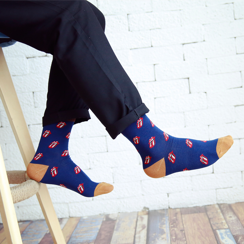 New Fashion Men Cotton   Socks   of Lips Tongue Pattern Funny Novelty Cool Sox white green blue grey EUR39-44