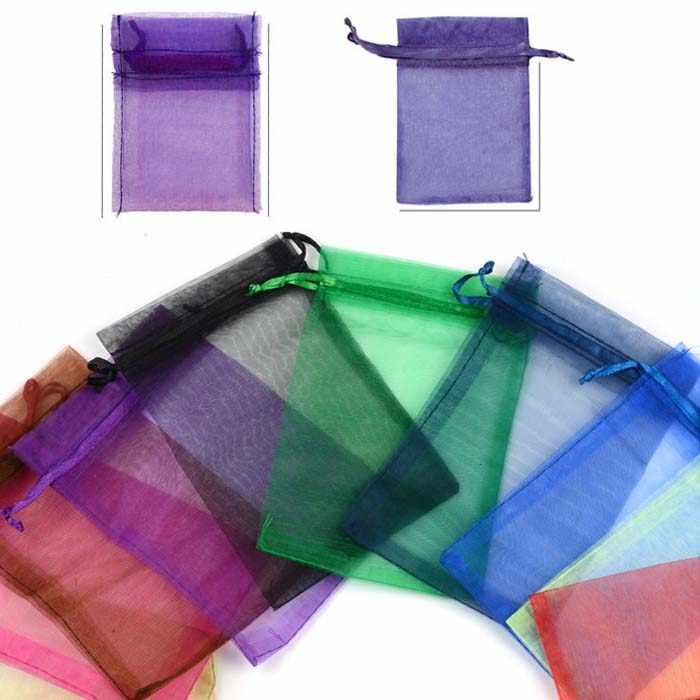 Bolsas de Caja de caramelos de Organza para los invitados bolsa de la joyería regalos de la boda suministros de fiesta de cumpleaños manualidades DIY baby showh sólido