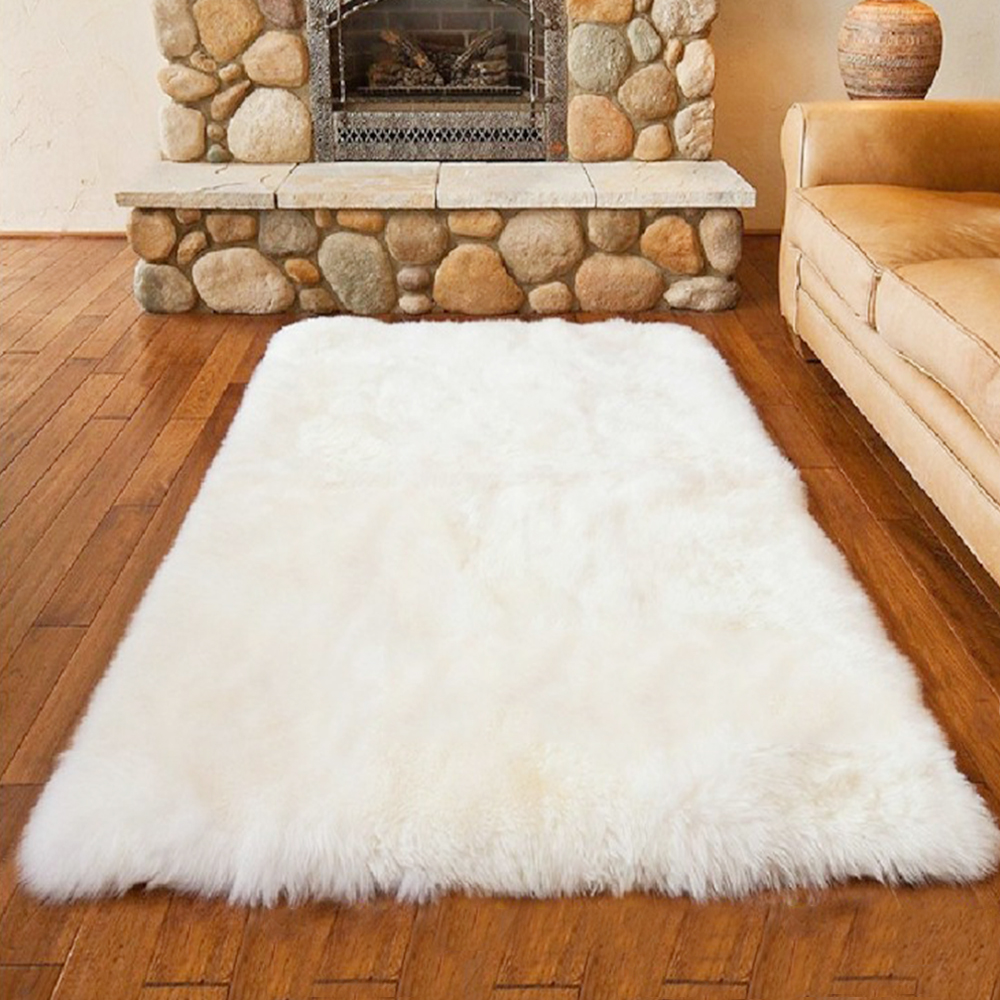 I Luxury Rectangle Sheepskin Hairy Carpet Faux Mat Seat Pad Fur Plain Fluffy Soft Area Rug