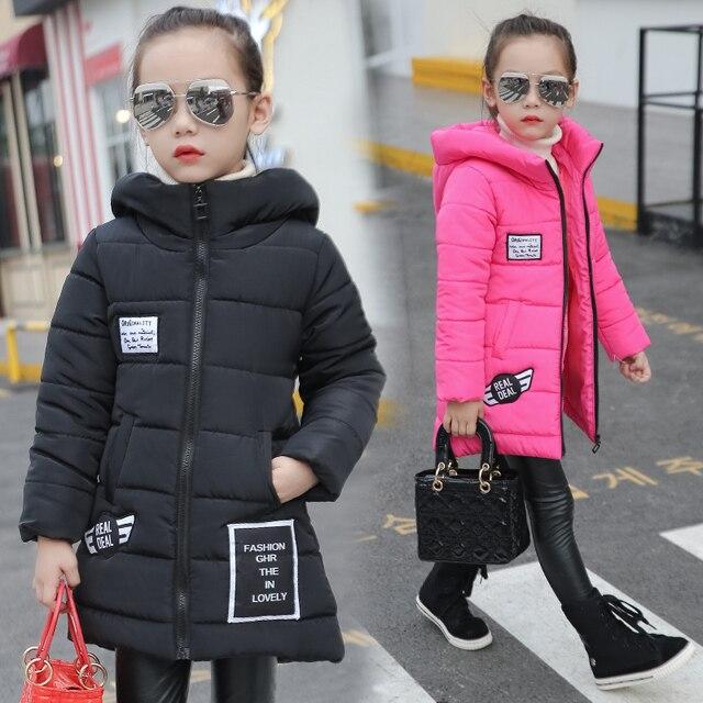 Девушки ребенок ватные куртки верхняя одежда средней длины хлопка-ватник утолщение детской одежды зима девушки пальто