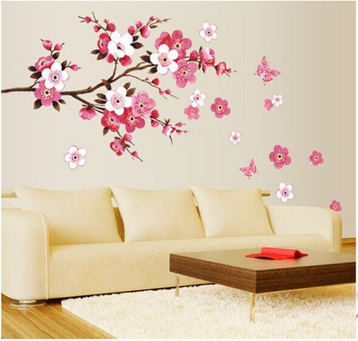 beautiful graceful peach blossom wall stickers for living room bedroom TV sofa home decals mural adesivo de parede