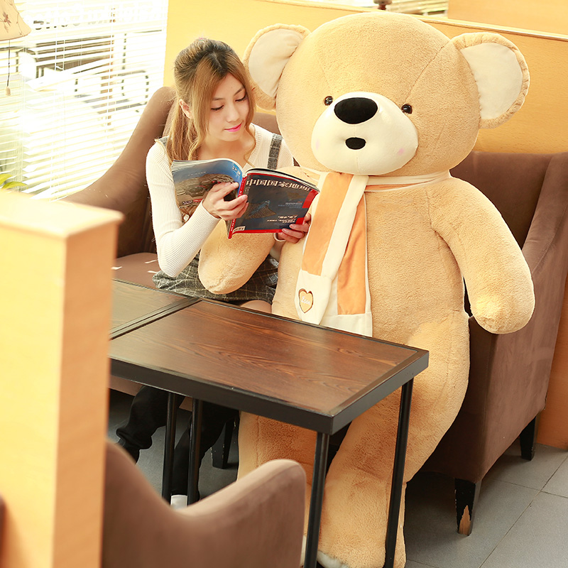 super huge plush teddy bear toy large love scarf yellow bear doll gift about 200cm stuffed animal 120 cm cute love rabbit plush toy pink or purple floral love rabbit soft doll gift w2226