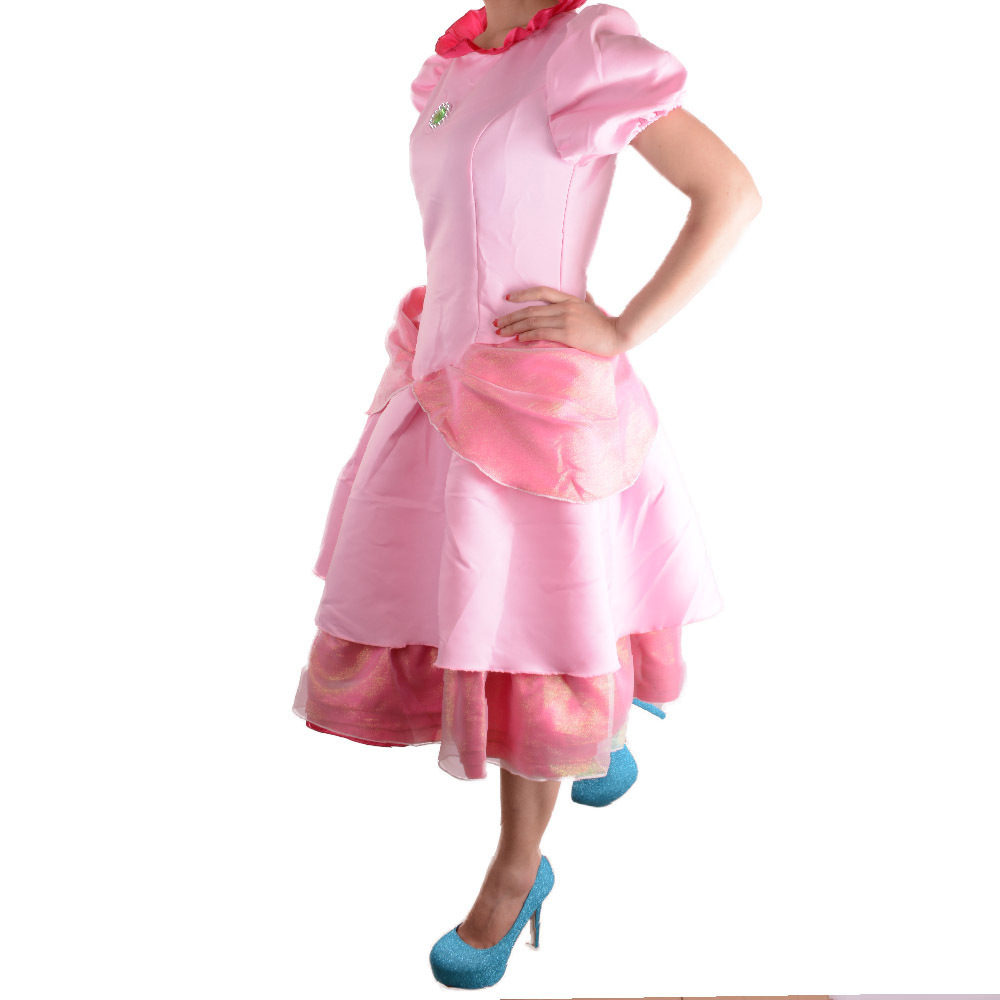Deluxe Adult Princess Peach Costume Women Super Mario Brothers Party