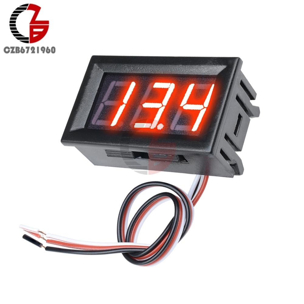 "3 Wire 0.56"" LED Digital Voltmeter Voltage Meter Car Motorcycle Volt Tester Detector DC 12V Capacity Monitor Red Green Blue"